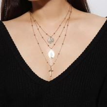 Cross Pendant Necklace Stylish Personality Cross Pendant Necklace Vintage Exaggerated Multi-layer Copper Beaded Necklace stylish shark tooth pendant necklace