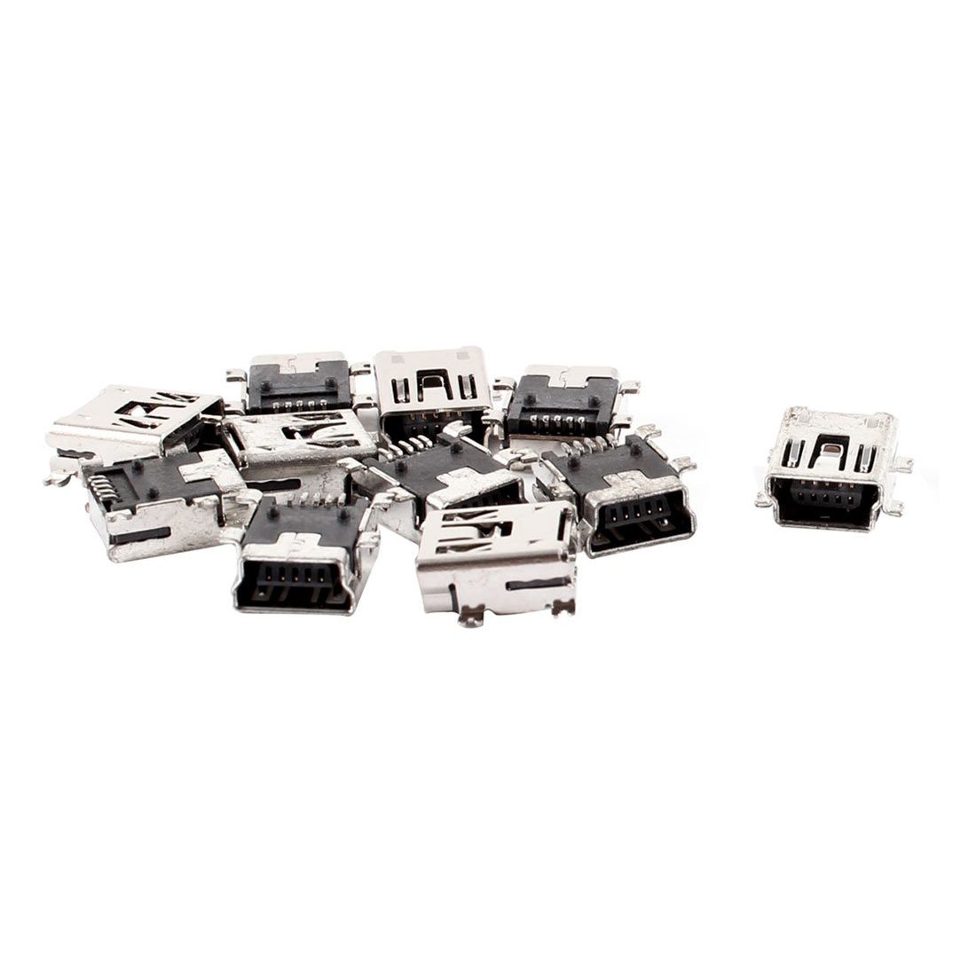 Replacement <font><b>Mini</b></font> <font><b>USB</b></font> Type B Female 5 <font><b>Pin</b></font> PCB Board Mount Jack Charger <font><b>Connector</b></font> <font><b>10</b></font> Pcs image