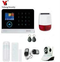 Yobang Security WIFI APP Control Touch Screen Alarm Red Solar Siren Alarm Kits RFID Card SMS Intruder Security Alarm System