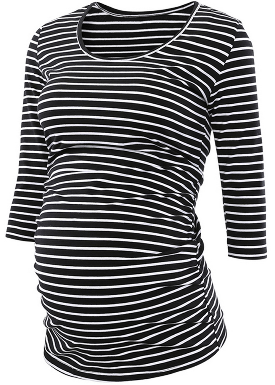 Maternity Clothes Stripes Pregnant Tunic Tops Flattering Side Ruching Pregnancy 3/4 Sleeve Scoop Neck Jersey Top T-Shirt