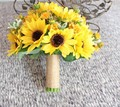 2016 Artificial Sunflower Yellow Wedding Bouquets For Brides Wedding Flowers Bridal Bouquets Ramos De Novia Artificial New Style