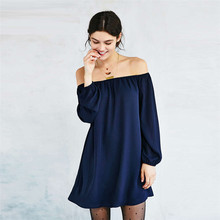 VZFF Women Dress One-Neck Sexy Big Swing Dress In The Sleeves Loose Solid Color Strapless 2019 Autumn Chiffon Dress Female цена