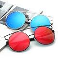 OUTEYE Мода Cat Eye Негабаритных Большой Круглый Солнцезащитные Очки Женщины Super Star Бренд Дизайнер Леди Розовое Золото Зеркало Солнцезащитные Очки Женщина