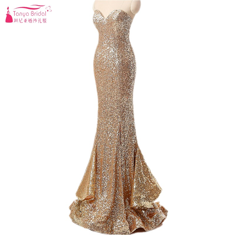 Gold Sequin Long Mermaid   Prom     Dresses   2018 Sexy Side Split Women Lady Formal Evening Gowns DQG052