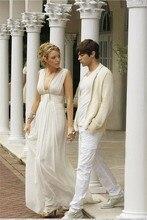 Deep V Neck Blake Livery Celebrity Dresses Long Evening Gossip Girl White Chiffon Formal Vestido