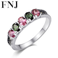 FNJ Pure 100% 925 Sterling Silver Natural Tourmaline Rings for Women Jewelry S925 Thai Silver Ring Lady Wedding Gift LR59