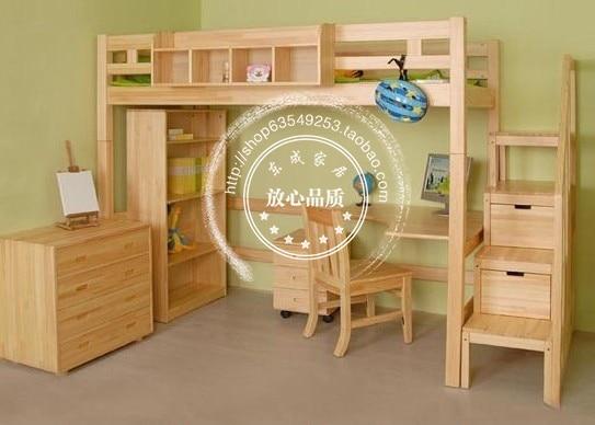 US $640.0 |Cheap wood children\'s bed children\'s bedroom furniture pine bed  children\'s bed combination Desk combination-in Children Furniture Sets from  ...