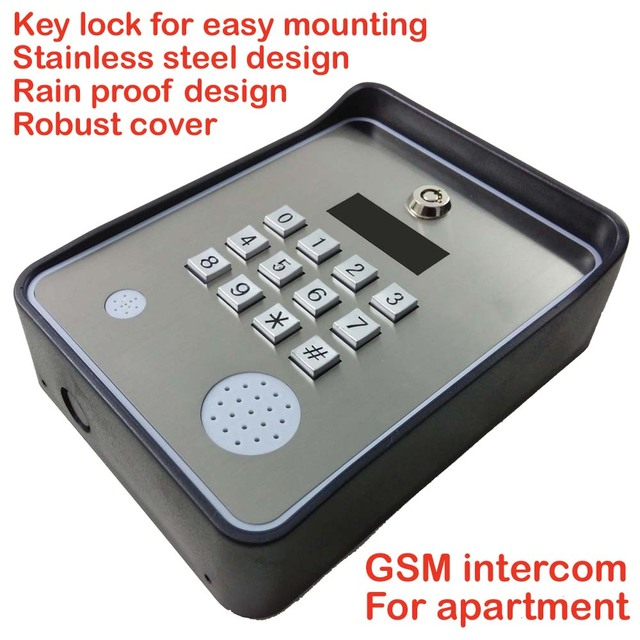 GSM-APARTMENT KEYPAD Handfree apartment door or gate access controller with Wireless gsm audio intercom system
