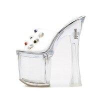 843c34ebe4 Odinokov Big Rhinestone Platform Women Sandals Ankle Strap 18cm PVC Heels  Clear Transparent Crystal Shoes Flip