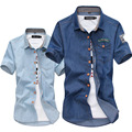 korean fashion casual men shirt design denim shirts men's Slim Fit cowboy short sleeve shirt camisa social masculina