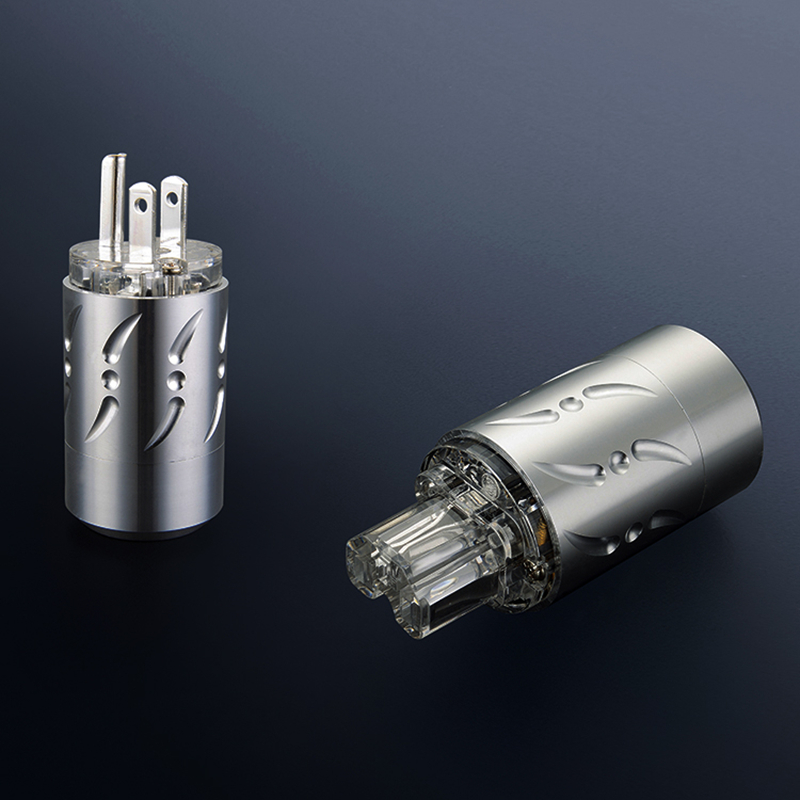 Viborg X 1 paire alliage d'aluminium Transparent pur cuivre rhodié hifi audio amateur US cordon d'alimentation fiche trou de queue 20 MM