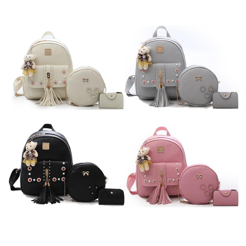 Backpack Female 3 Piece Combination Composite Bag Bear Hanging Inlaid Imitation Diamond Tassel Fashion Casual Shoulder Bag 45