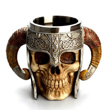 Ketajaman Kreatif 3D Horn Viking Skull Mug Artwork Grail Knight Tankard Marauders Devil Double Wall Coffee Mug Tea Cup Caneca