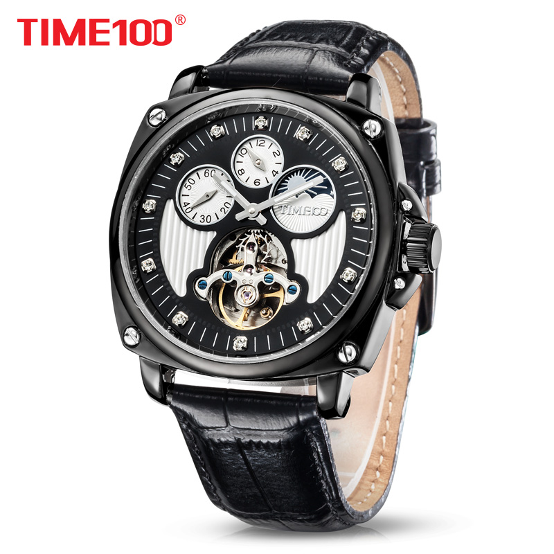 2018 New TIME100 Men Mechanical watches double time Zone Automatic Self-wind Skeleton Watches Black Leather Business Time Chaser fxb f3d2x4 enhanced windsock wind vane double frame skeleton