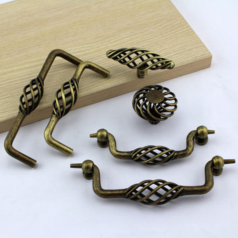 Vintage bronze birdcage cupboard door handle antique drawer Knob Pull for  Cabinet shoe wardrobe Closet Furniture Hardware 2pcs set stainless steel 90 degree self closing cabinet closet door hinges home roomfurniture hardware accessories supply