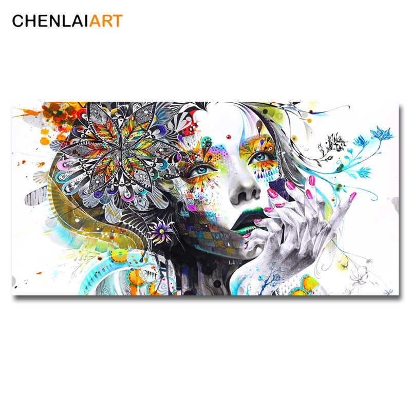 Modern Canvas Prints Colorful Mosaic Painting Anime Women Art Girl Face With FLowers Wall Art Pictures For Living Room No Frame