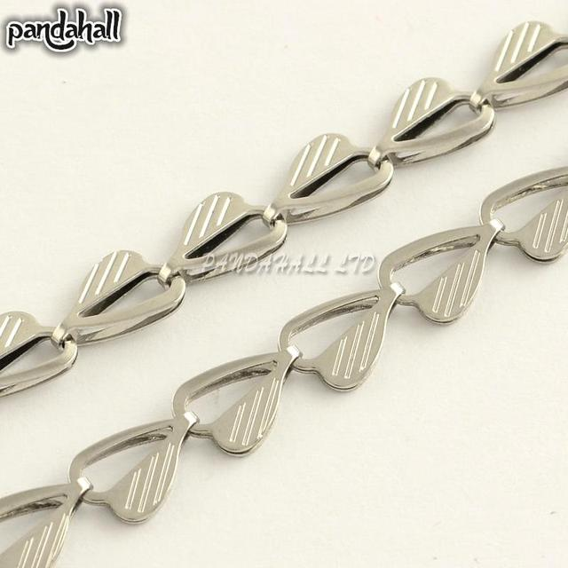 304 Stainless Steel Heart Link Chains, Soldered, Stainless Steel Color, 9x6x2mm; about 20m/roll