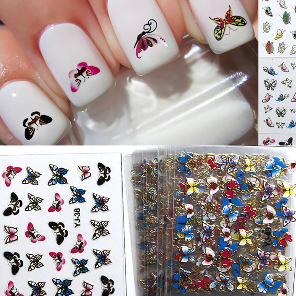 24 Sheets DIY 3D design Nail Stickers Colorful Butterfly Nail Art ...