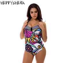 HAPPYSHARK 2018 New Vintage Women Swimwear Colorful Floral Printed One Piece Swimsuit Sexy Striped Padded Push Up Bathing Suit