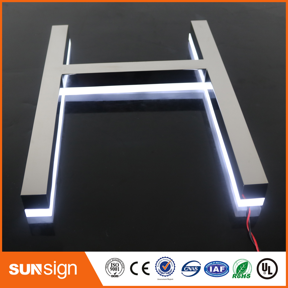 Chain Stores Advertising Mirror Stainless Steel Channel Letters Sign