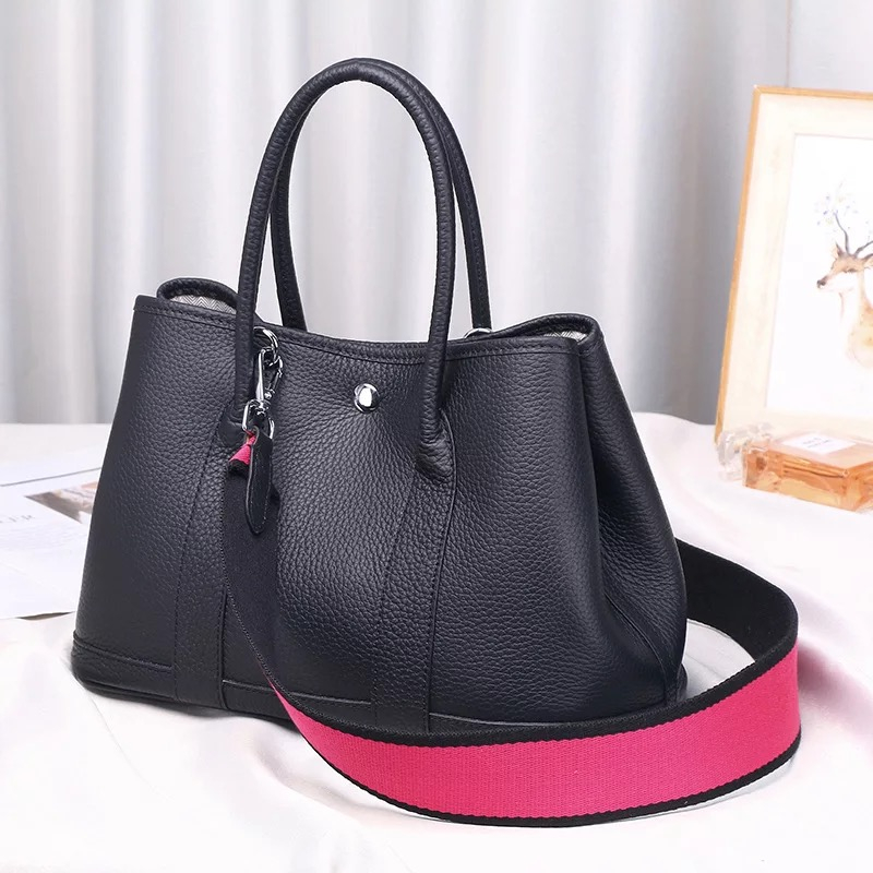 2018 100% genuine leather luxury women Tote bag famous brand garden party handbag Casual Cowhide Lady shoulder bag Top Handle