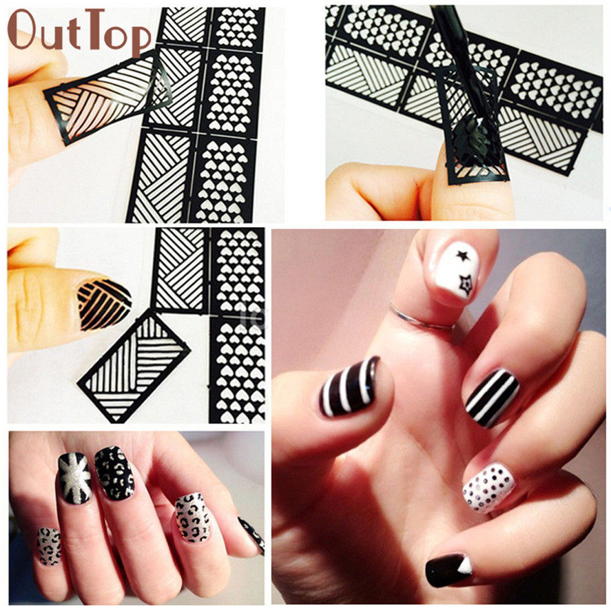 OutTop 1 Sheet New Vinyls Nail Hollow Irregular Grid Stencil Reusable Manicure Stickers Guide Stamping Template Pretty Nail Tool 3 designs in 1 sheet laser vinyls nail hollow sticker gold grid irregular patterns tips tool for nail art stencil manicure sa350