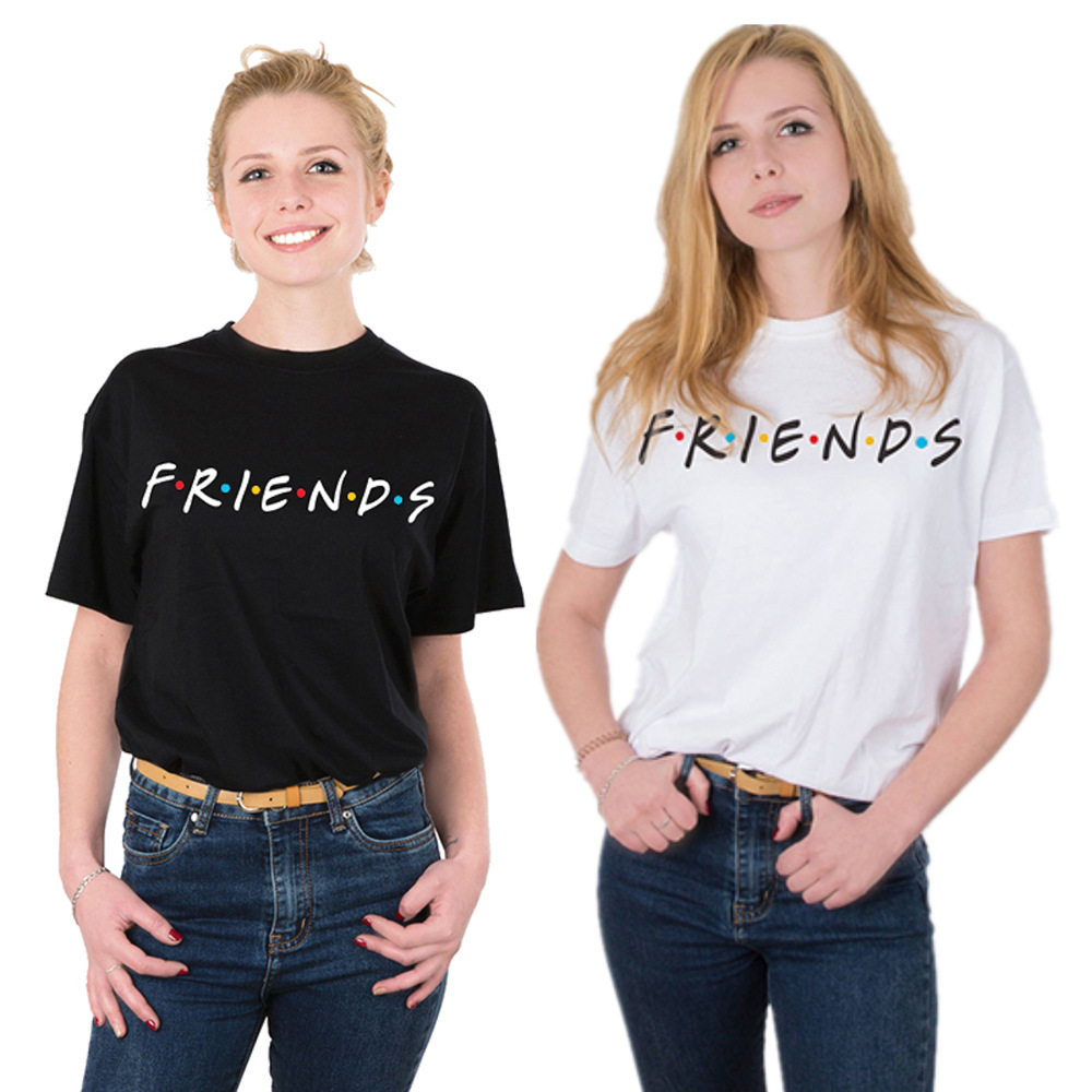 2019 Summer Women   T     Shirt   FRIENDS Letter Print Friends   T  -  shirt   Casual Short Sleeve Tops Tee O Neck Female Tops Camisetas Mujer