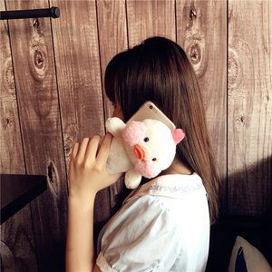 Image 3 - Cartoon Phone Case For Iphone 12 11 Pro MAX  Cute Yellow Duck Doll Cover Case For Iphone XS XR 8plus 7 6plus SE Fluffy Plush
