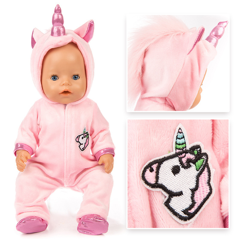 2pcs/set Dolls Clothes Unicorn Pajamas+Shoes Suit For 43cm Cute Baby Doll Coat Hoodie Christmas Outfit Doll Clothes Accessories