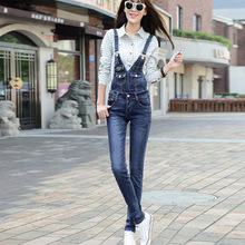2016 New Women Jumpsuits Hight Quality Fashion Brand Denim Overalls  Long Pant Jean Jumpsuit Bodycon Skinny Luxury Playsuits