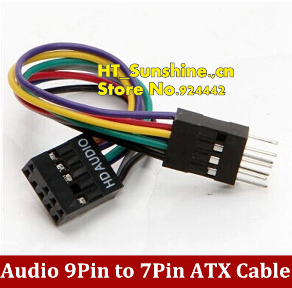 Free Shiping Audio 9Pin Female to 7Pin Male Adapter JACK Cable For Lenovo ATX Motherboard to Host Case PC Chassis Front Panel