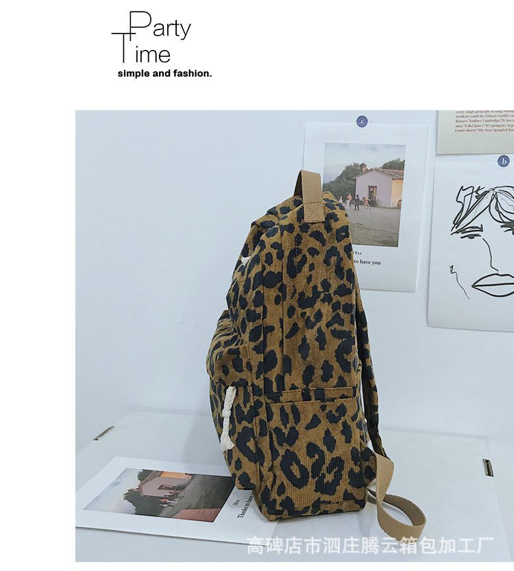 Moda feminina mochila leopardo impressão veludo dupla