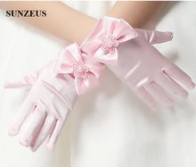 Flower Girls Short Gloves Pink Children Gloves For Wedding Party Cute Bow Gloves BV-014(China)