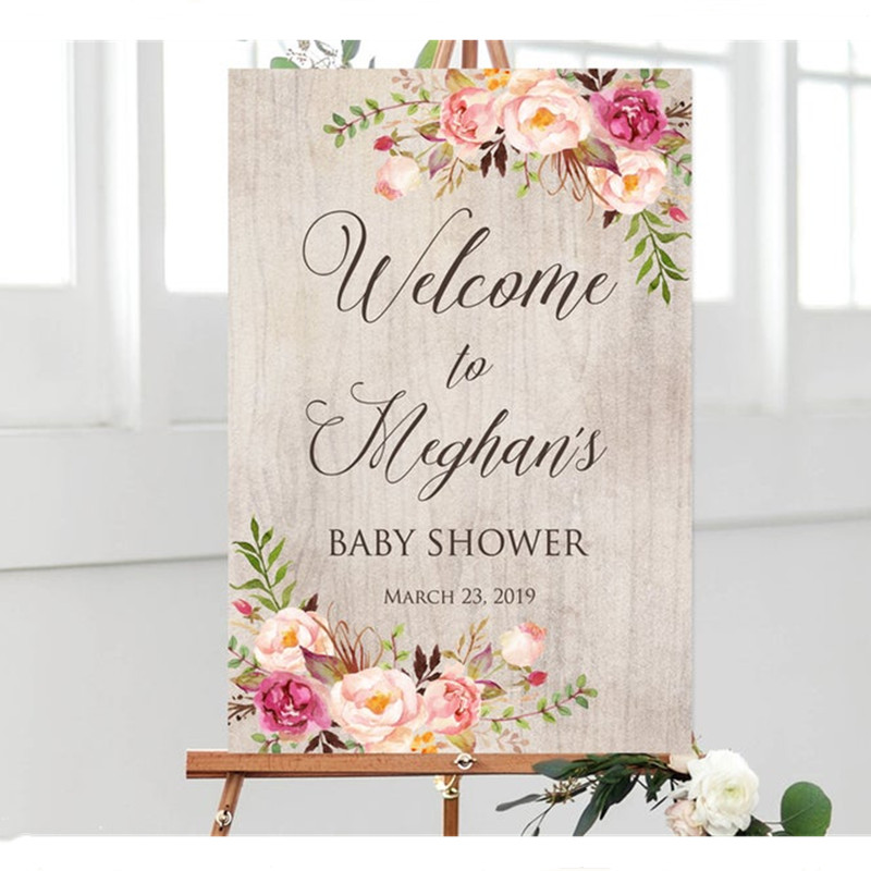 Personalized Baby Shower Baby Shower Welcome Decal Custom Baby Shower Signs Baby Shower Welcome Sign Custom Baby Shower Decal