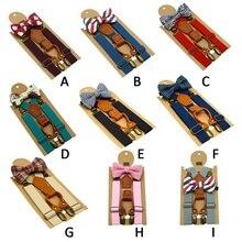 1 предмет, Детские эластичные подтяжки и галстук-бабочка, комплект одежды для мальчиков Детский костюм с галстуком-бабочкой для мальчиков регулируемый пояс на лямках для спины