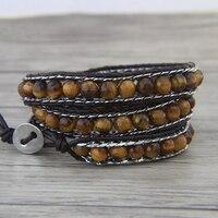 Yellow beads bracelet tiger eye beads bracelet leather wrap braceet yoga chain jewelry bohemian jewelry boho jewelry