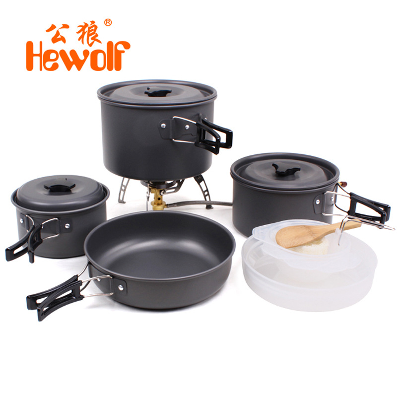 Hewolf outdoor pot kettle camping cookware Aluminum foldable tableware trekking picnic camping cooking set picnic equipment цены