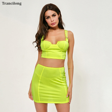 Trancilong Hot Sale Solid Color Adjustment Buckle Wrapped Chest Umbilical Two Piece Set WomenS Sexy Bag Hip Street Clothing
