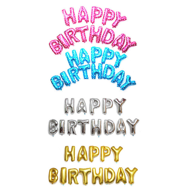Free shipping newgold – silver – Pink – Blue letters Happy Birthday Balloons 13pcs-lots lettersBalloons