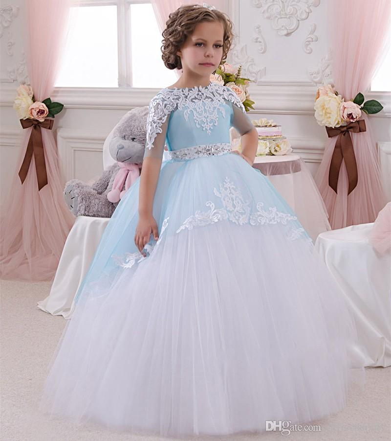 649355c82019 2017 Baby Princess Flower Girl Dress Lace Bow Sash Wedding Prom Ball ...