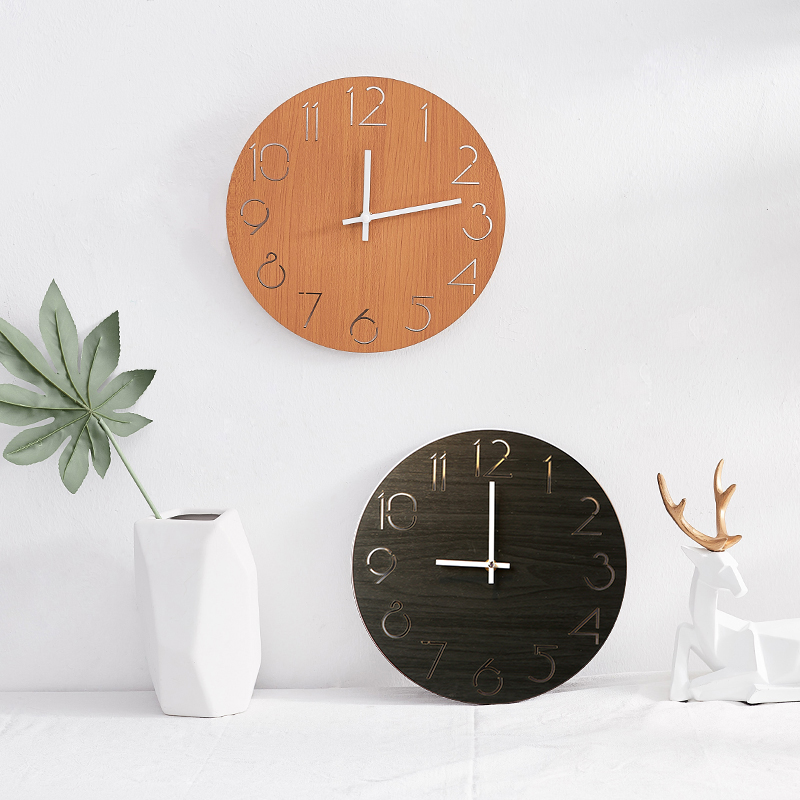 Round Wall Clock Modern Design Digital Wooden Wall Clock Silent Electronic  Decorative On The Wall Kitchen Watch Horloge Mural