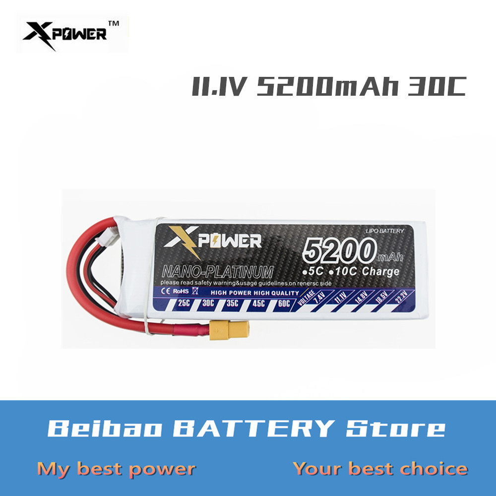11.1V 5200mah 3S 30C Max 35C XT60 T EC5 Lipo Battery Lithium Xpower Batteries For RC Drone Quadcopter Truck Car Battery VS VOK(China)