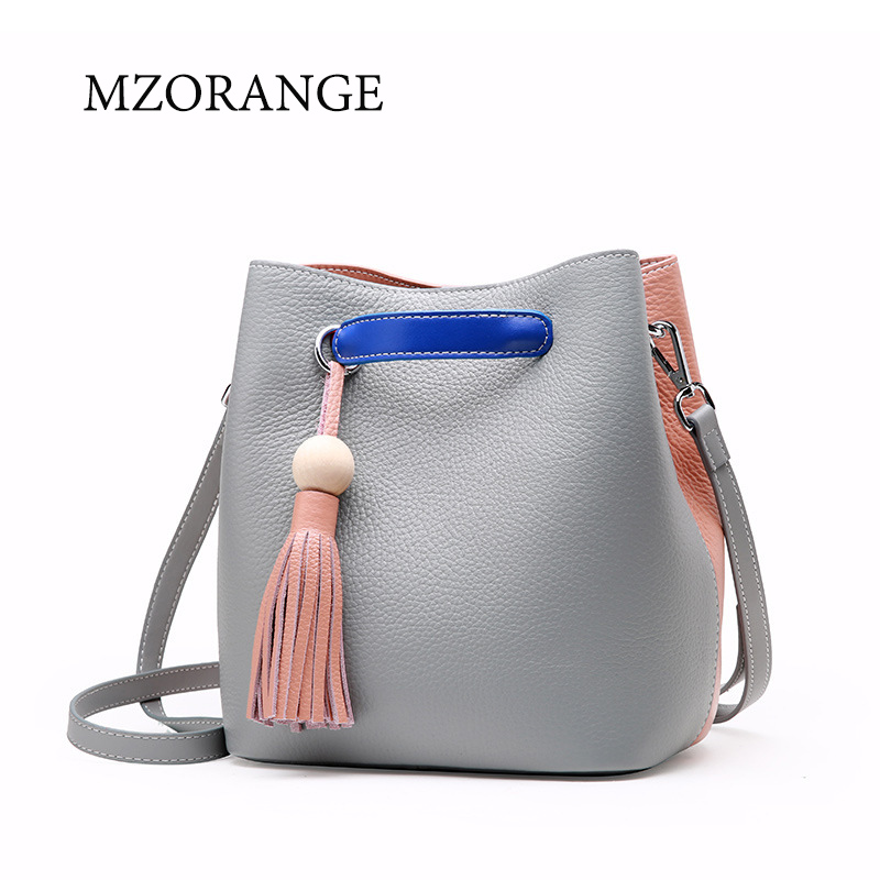 MZORANGE New Fashion Spell color bucket bag genuine leather women's handbag female solid shoulder bag with tassel brand tote bag yuanyu 2018 new hot free shipping real python skin snake skin color women handbag elegant color serpentine fashion leather bag