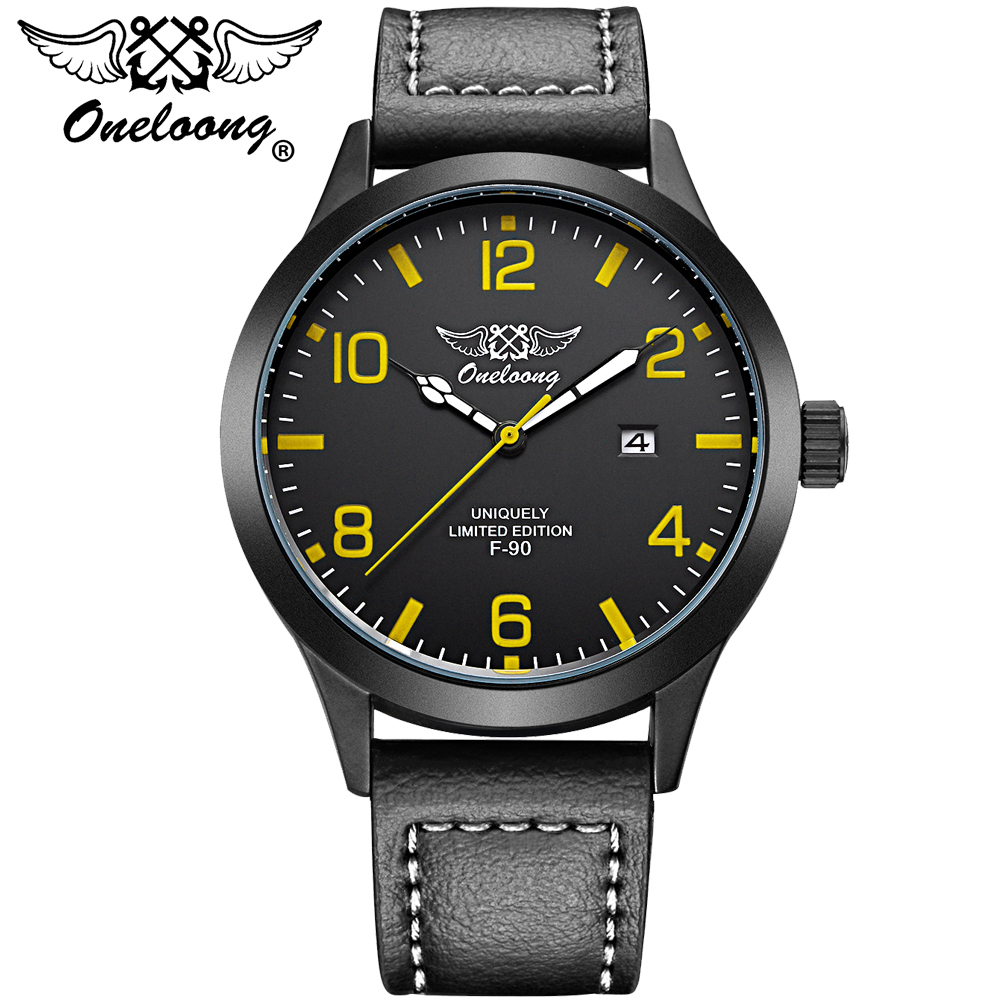 ONELOONG Luxury Brand Aviation Pilot Watch Men Fashion Leather Strap Watches Mens Sports Military Quartz Hours Date Clock F90