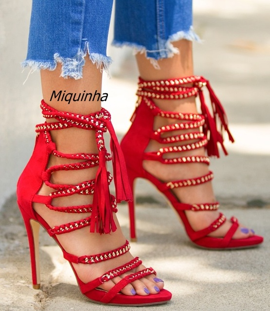 416b20c0cc9 Fancy Red Suede Rope Style Gladiator Sandals Sexy Open Toe Metal PU Woven  Strappy Stiletto Heel Sandals Pretty Fringe Shoes