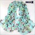 Nova moda borboleta lenços de seda cachecol xale pashmina chiffon infinito cachecol