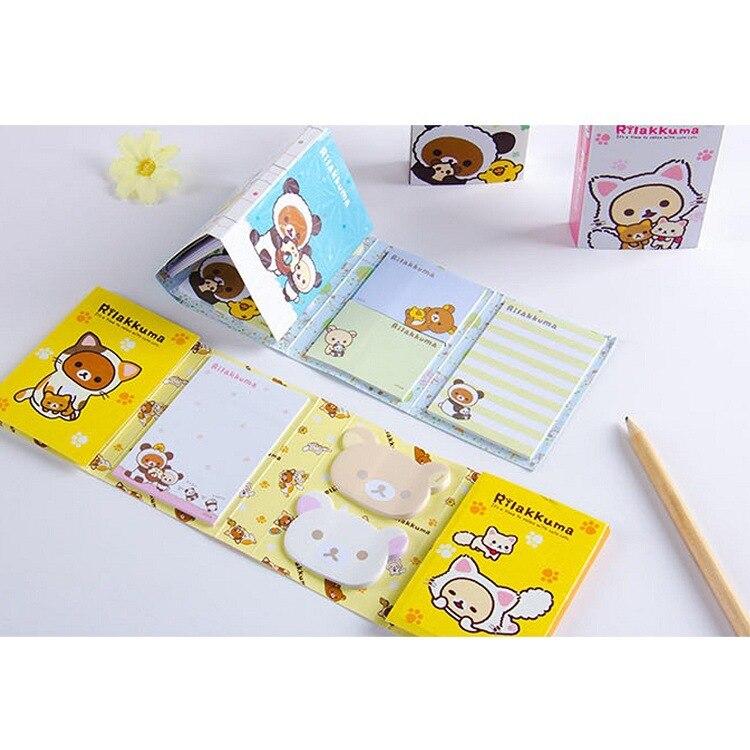 Image 4 - 12 pcs/lot Cartoon Rilakkuma Hat 6 Folding Memo Pad N Times Sticky Notes Memo Notepad Bookmark Gift StationeryMemo Pads   -