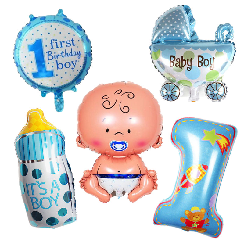 5pcs/set Baby Boy Girl 1st Birthday Air Balloons Set It's A Girl/Boy Foil Balloon 1 Year Old Birthday Baby Shower Decoration