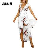 Summer Dress Women 2017 Boho Plus Size Tunic Bandage Maxi Beach Dresses Summer Sundress Robe Femme