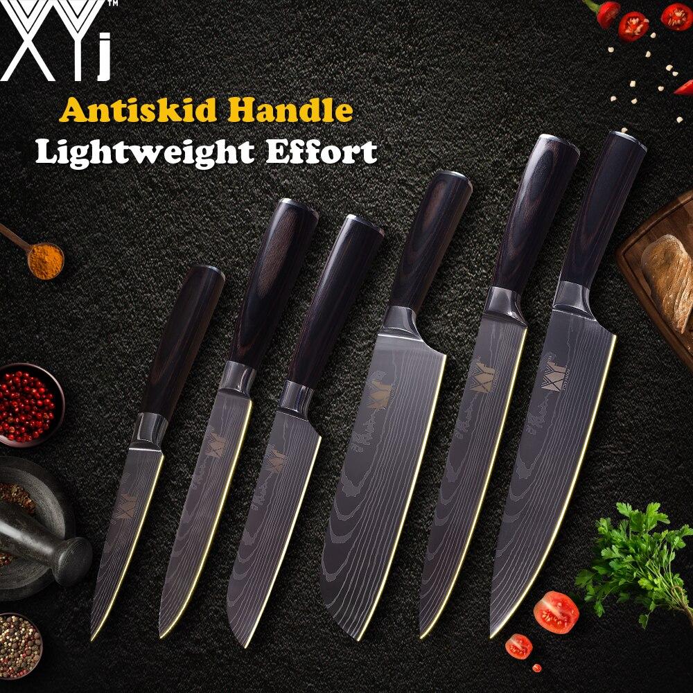 XYj Cozinha Facas de Cozinha Faca de Aço Inoxidável 3.5, 5, 5, 7, 8, 8 polegada Japonês Chef Vegetal Faca de Frutas Ferramentas de Cozimento da Carne